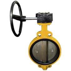 Затвор Баттерфляй газовый Ду 350 диск - чугун  уплот. - NBR с редуктором Китай