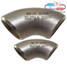 Отвод бесшовный ISO нж сталь AISI 304 108x2